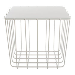 Blu Dot - Blu Dot Scamp Medium Table, White Base - White Painted Glass Top - Three sizes, three base finishes and four tops to choose from to scatter or cluster. Mix and match our little Scamp to form your own landscape of beauty and utility.