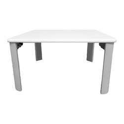 None - Low White Coffee Table - This small white coffee table is designed to fit in any living, especially those with smaller space like a dorm room or a children's play room. The table has four folding legs, which make this table conveniently to be stored in a closet when not in use.