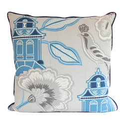 The Pillow Studio - Designer Chinoiserie Pillow Cover with Piping, Blue and Grey Linen, Asian Design - Designer Pillow Cover Size: 20x20