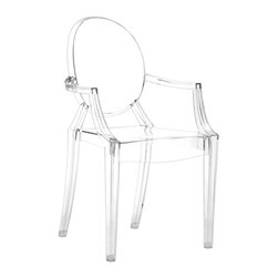 Zuo Modern - Modern Louis XIV Arm Chair in Clear Silver - Set of 2. Sleek clean lines. Contemporary twist to a Louis XIV Traditional design. Stackable for convenient storage. Sturdy suitable for indoor or outside commercial use . Made of acrylics. 2 Year Manufacturer's Warranty. Pictured in Transparent White. Seat Height: 19 in.. Seat Depth: 17 in.. 22 in. L x 22 in. W x 37 in. HMade from a single mold in transparent polycarbonate, A Louis XIV style chair in a clever combination of lightness and solidity, the result of careful and meticulous research into the material, polycarbonate, resistant to scratches and bumps, and easy to clean. The chair's fluid, serene design enables it to be used in residential or commercial settings. The chair is sturdy and durable even though it appears delicate and ethereal.
