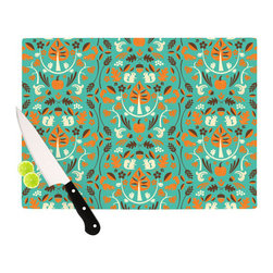 "Kess InHouse - Allison Beilke ""Autumn Harvest Blue"" Cutting Board (11.5"" x 15.75"") - These sturdy tempered glass cutting boards will make everything you chop look like a Dutch painting. Perfect the art of cooking with your KESS InHouse unique art cutting board. Go for patterns or painted, either way this non-skid, dishwasher safe cutting board is perfect for preparing any artistic dinner or serving. Cut, chop, serve or frame, all of these unique cutting boards are gorgeous."