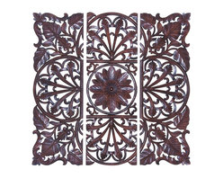 Woodland Imports - Set of 3 Carved Wood Wall Panels Brown Floral Leaf Home Decor - Set of 3 carved wood wall panels in chocolate brown finish with beautiful floral and leaf design home decor