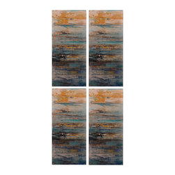 Abstract Printed Metal Wall Decor Panels - Set of 4 - *Dimensions: 32Hx1Wx14L
