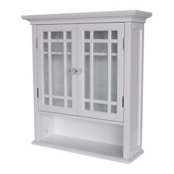 Neal Wall Cabinet with 2 Doors and 1 Shelf - The Neal Wall Cabinet with 2 Doors and 1 Shelf helps you make the most of every inch of your bathroom. A charming blend of classic elegance and modern function this wall cabinet makes a stylish addition to any bathroom. Lattice details and a beveled crystal knob enhance the glass-paned doors while the interior adjustable shelf accommodates toiletries medicine and more. The bottom shelf gives you quick access to frequently used items or can be used to display candles perfume and decorative soaps. Made of MDF wood laminate a sturdy engineered wood product in a crisp white finish this sturdy cabinet features elegant crown molding and recessed panels for added style.