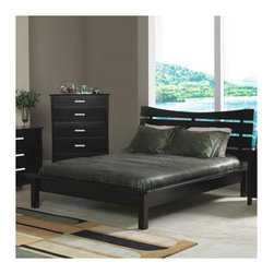 """Wildon Home � - Newport Queen Platform Bedroom Collection - Features: -Newport collection. -Contemporary style. -Deep rich Cappuccino finish. -Straight clean lines, tapered feet. -Smooth tops with straight edges. -Bed dimensions: 44.5"""" H x 70.5"""" W x 84"""" D."""
