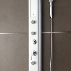 """Fresca - Fresca Venezia PVC Silver Shower Massage Panel - With four swiveling massage jets, the FSP8003SL Fresca Venezia Shower Massage Panel can help you unwind. Each massage jet has an individual control knob, and the water pressure and temperature are adjustable via the master control knob. This H 59"""" x W 7"""" x D 13.75"""" bathroom shower panel features a broad 8"""" shower head for a wide rain-like shower as well as a smaller handheld attachment for direct spray. A low-maintenance fingerprint-free silver PVC finish and inset mirror enhance your decor as well."""