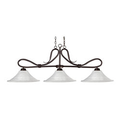 Z-Lite - Z-Lite Cobra Kitchen Island / Billiard X-61MWF-ZRB731 - Elegant loops and an almost snake like motif define this beautiful three light fixture. Finished in bronze and paired with fluted white mottle glass shades, this three light fixture would be equally at home in the game room, or anywhere else in the house needing a touch of timeless charm.72 inches of chain per side is included to ensure the perfect hanging height.