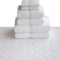 None - Authentic Hotel and Spa Turkish Cotton 7-piece Towel Set with Circle Design Bath - The authentic hotel and spa towel and mat set is made of soft, thick durable, absorbent 100-percent Turkish cotton. This simple yet elegant set was designed for heavy use.