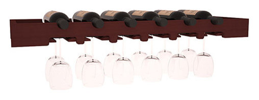 Wine Racks America - 6 Bottle Scalloped Stemware Rack in Redwood, Cherry - Garner attention to your best wine and stemware with this beautiful Scalloped Stemware Rack. Keep glasses safe and sound while storing wine bottles over the top. Create an ornate and functional setting paired with a Wine Tasting Table.