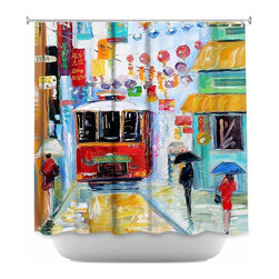 DiaNoche Designs - Shower Curtain Artistic China Town - DiaNoche Designs works with artists from around the world to bring unique, artistic products to decorate all aspects of your home.  Our designer Shower Curtains will be the talk of every guest to visit your bathroom!  Our Shower Curtains have Sewn reinforced holes for curtain rings, Shower Curtain Rings Not Included.  Dye Sublimation printing adheres the ink to the material for long life and durability. Machine Wash upon arrival for maximum softness. Made in USA.  Shower Curtain Rings Not Included.