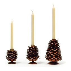 """Go Home Ltd - Go Home Progressing Pinecone Candleholders, Set of 3 - Perfectly primped and prickly pinecones! These fantastic candlesticks holders bring in a natural element to your table setting. Have fun placing these whimsical rustic iron seedlings amongst your seasonal decoration. (GH) small: 2.5"""" diameter x 4"""" high. Medium: 3.5"""" diameter x 5"""" high. Large: 4.5"""" diameter x 7"""" high"""