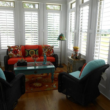 Shutters In Pinson - Plantation shutters are stately as they enhance the look and preserve the view in the sitting area of this Pinson, AL home.