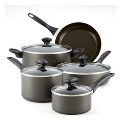 "Farberware - Farberware Dishwasher Safe Aluminum Nonstick 12 pc. Cookware Set - Charcoal Mult - Shop for Cookware Sets from Hayneedle.com! The Farberware Dishwasher Safe Aluminum Nonstick 12 pc. Cookware Set - Charcoal gives you everything you need for great meals - except the recipes! Each pot and pan is made with heavy gauge aluminum that cooks evenly with no hot spots. Lids are clear so you can easily see inside. Non-stick surfaces let food slide out and make cleanup a snap. This set includes a 1-quart saucepan with lid 2-quart saucepan with lid 5-quart Dutch oven with lid 2.75-quart saute pan with lid 10-inch skillet slotted turner slotted spoon and a solid spoon.About FarberwareIn 1900 a tinsmith named S.W. Farber set up a shop in Manhattan where he started a small business making bowls and vases out of hand-pounded sheets of copper and brass. Since that time the Farberware company has grown exponentially; in 1930 they introduced their first line of percolators adding small appliances to the list of items for which they were already known. In today's market Farberware is valued for its product innovation. Over the years they have been responsible for such designs as the electric fry pan with removable probe for easy cleaning and the ""Open Hearth"" smokeless broiler. Quality classic styling and years of tradition go into each Farberware product. With Farberware you know you're not just buying a piece of cookware; you're buying a legacy of great value."