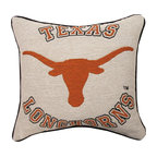 Manual - University of Texas Longhorns 17 Inch Tapestry Throw Pillow - This 17 inch square throw pillow is an excellent accent piece for any fan, student or alumnus the University of Texas. The 100% polyester fabric is durable, and will look and feel great for years, whether you display it on a couch or bed. The front of the pillow features the Texas Longhorns logo against an off-white background. The back has no printing. The pillow is proudly made in the USA. This pillow is perfect on chairs, couches, and beds in your home - buy a pair and display one on each side for a matching set!
