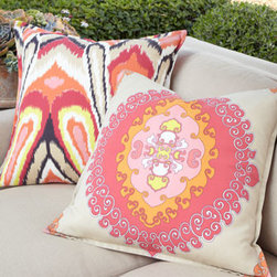 "Trina Turk - Trina Turk Peacock Print Pillow - Flanged pillows by Trina Turk (sold separately) are USA made of acrylic. ""Peacock Print"" pillow is 23""Sq.; others are 22""Sq. Outdoor safe. Dry clean. Pillows, left to right, are ""Paradise Punch,"" ""Zebra Bamboo,"" and ""Peacock Print."""