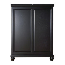 """Crosley Furniture - Cambridge Bar Cabinet in Black - Beautiful Raised Panel Doors. Brushed Nickel Hardware. Plenty of Room for Storing Barware & Spirits. Doubles as a Serving Station when Entertaining. Adjustable Levelers in Legs. Expands to 62 1/2"""" Wide when Open. Solid Hardwood & Veneer Construction. Front & back of bar have matching finish. 42in. H x 31.25in. W x 22in. D (150 lbs)Constructed of solid hardwood and wood veneers, this Expandable Bar Cabinet is designed for longevity. The beautiful raised panel doors provide the ultimate in style to dress up your home. The doors open and top folds out to double the size of your entertaining / serving area. Inside the doors, you will find plentiful storage space for spirits, glassware, and a host of other bar items. The center cabinet features 16 bottle wine storage, utility drawer, hanging stemware storage, and extra space for a variety of other barware."""