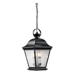 Kichler Lighting - Kichler Lighting Mount Vernon Traditional Outdoor Hanging Light X-KB4089 - A traditional style with a blend of old and new finishes, this Kichler Lighting outdoor hanging light is a perfect compliment to a variety of outdoor spaces. From the Mount Vernon Collection, the crisp look of the modern etched seedy glass panels are a perfect contrasting look to the warm Olde Bronze finish.
