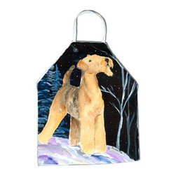 Caroline's Treasures - Starry Night Airedale Apron - Apron, Bib Style, 27 in H x 31 in W; 100 percent  Ultra Spun Poly, White, braided nylon tie straps, sewn cloth neckband. These bib style aprons are not just for cooking - they are also great for cleaning, gardening, art projects, and other activities, too!