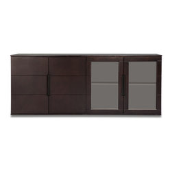 Zuri Furniture - Hayes Cabinet - Dark Oak with Glass Doors - The Hayes modern filing cabinet is extremely versatile and may double as a credenza, contemporary storage unit or a buffet for any elegant living or office space. The filing cabinet is divided into two double cabinets, one with solid custom dark walnut wood grain finished doors and the other with smoked glass doors. Finished with industrial style sleek powder chrome feet.