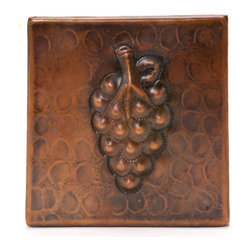 """Premier Copper Products - Premier Copper Products T4DBG 4"""" x 4"""" Copper Grape Tile - 4"""" x 4"""" Copper Grape Tile"""