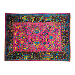 """Oriental Rug Galaxy - 9'1"""" x 12'5"""" Sari Silk Pink Colorful Modern Hand Knotted Oriental Rug - Silk was first developed in ancient China and was originally reserved for royalty because of its unique qualities. Thankfully, its special qualities are, today, available to all. A silk rug is the most intricate type of hand knotted Oriental carpet due to its one-of-a-kind fine lustrous weave, copious detail, and rich color combinations. Our collection includes stunning examples of classic Persian Tabriz, Kashan, Qum, Isfahan and the Turkish Hereke."""