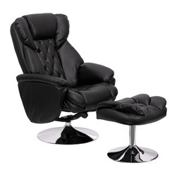 Flash Furniture - Flash Furniture Transitional Black Leather Recliner & Ottoman with Chrome Base - This overstuffed leather recliner will make an excellent choice in your traditional or contemporary home or office setting. This set features super thick padding throughout the chair and ottoman as well as chrome exposed bases that provide a contemporary feel. The durable leather upholstery allows for easy cleaning and regular care. [BT-7807-TRAD-GG]