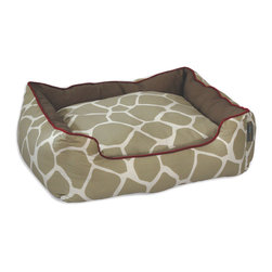 ez living home - Giraffe Couch Bed Khaki on Cream - Your pup may be domesticated, but lets not be insulting: he's still got some wild spunk in him. He likes comfort as much as the next mammal, but that doesn't mean he deserves a saggy, shapeless brown bed. This cozy couch bed, on the other hand, has structure, style, and a touch of jungle spirit, with that neutral giraffe print edged in red. It fits your own sassy style, and if you love it, you can bet pup will too.