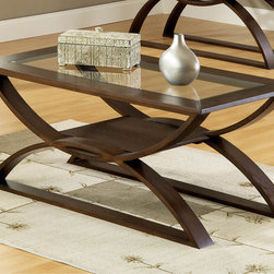 """Steve Silver - Dylan Cocktail Table - The Dylan Occasional Collection while simple has lots of style. Highlighted by the curves in the base the table tops feature glass inserts. Sure to add interest to any room.;Features: Rich Multi-Step Cherry Finish;Contemporary Style;Corner Blocked Construction;Tongue and Groove Joints;Weight: 60.1 lbs.;Dimensions: 48""""L x 24""""W x 21""""H"""