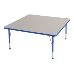 ECR4KIDS Square Adjustable Activity Table - Designed for educational settings or craft rooms the Early Childhood Resources Square Adjustable Activity Table is built to last. The versatile square shape is ideal for spreading out art projects and other educational activities and it will seat up to 8 kids. This durable table is made with thick recycled particleboard and is laminated on both sides which provides a stain-resistant and easy-to-clean surface. The corners are rounded for safety and the smooth edge banding is available in your choice of popular kid-friendly colors. This safe non-toxic table will not fade or discolor. The adjustable metal legs are powder-coated on top and chrome-plated on the bottom with matching ball glides for feet. The table can also be adjusted in height to fit children of a specific age or grade. The table adjusts 15-23 inches high or adjusts 19-30 inches high. Both table options carry a seven-year manufacturer's warranty. Chairs are sold separately. Adult assembly is required. Tabletop Details: Gray laminate tabletop is laminated on both sides and measures 1.125 inches thick. Table substructure is made from medium-density particleboard that is at least 90% recycled (minimum 4% post-consumer balance pre-consumer). Bright color banding is available in a variety of popular classroom colors. Color banding grips into the tabletop edges and is pinned in place every 6-8 inches with recessed nails to ensure that the banding remains firmly in place. Color banding is made from PET and contains no phthalates. Rounded corners for extra safety. EPP certified CARB compliant and may contribute to U.S. Green Building Council's LEED™ Credits MR 4.1 and 4.2. Leg Details: Durable powder-coated paint on upper leg. Color matches the banding. Chrome-plated adjustable lower leg insert. Legs are adjustable in 1-inch increments Threaded adjustment holes in lower leg keep legs securely in place. Color-coordinated polypropylene ball glides. Pre-installed brackets and pre-drilled screw holes make leg mount installation and alignment easy. Available in 2 sizes: Toddler table measures 48L x 48W x 15-23H inches. Standard table measures 48L x 48W x 19-30H inches. About Early Childhood ResourcesEarly Childhood Resources is a wholesale manufacturer of early childhood and educational products. It is committed to developing and distributing only the highest-quality products ensuring that these products represent the maximum value in the marketplace. Combining its responsibility to the community and its desire to be environmentally conscious Early Childhood Resources has eliminated almost all of its cardboard waste by implementing commercial Cardboard Shredding equipment in its facilities. You can be assured of maximum value with Early Childhood Resources.