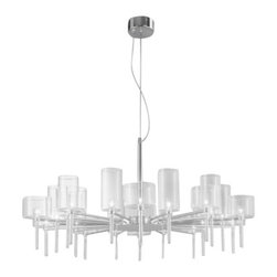 """Axo - Axo Spillray 20 Chandelier - The Spillray 20 Suspension Lamp was designed by Manuel Vivian and produced by Axo in Italy. This beautiful fixture is composed of metal and glass and is available in four finish options, clear, orange, red and grey. Illumination is provided by 20 X 10W G4 halogen bulbs.  Product Details: The Spillray 20 Suspension Lamp was designed by Manuel Vivian and produced by Axo in Italy. This beautiful fixture is composed of metal and glass and is available in four finish options, clear, orange, red and grey. Illumination is provided by 20 X 10W G4 halogen bulbs.  Details:                                     Manufacturer:                                      Axo                                                     Designer:                                     Manuel Vivian                                                     Made in:                                     Italy                                                     Dimensions:                                      Height: 98 3/8"""" (250 cm) X Diameter: 49 3/4"""" (126 cm)                                                     Light bulb:                                      1 X  20W G4 halogen                                                     Material:                                      Steel, Glass"""