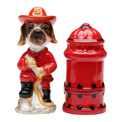 ATD - Fire Fighter Dog with Fire Hydrant Themed Salt and Pepper Shaker Set - This gorgeous Fire Fighter Dog with Fire Hydrant Themed Salt and Pepper Shaker Set has the finest details and highest quality you will find anywhere! Fire Fighter Dog with Fire Hydrant Themed Salt and Pepper Shaker Set is truly remarkable.