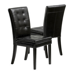Great Deal Furniture - Bartley Elegant Black Leather Dining Chair ( Set of 2 ) - The Elegant dining chairs provide style to any room. These stylish chairs is constructed with black bonded leather and a tufted backrest.