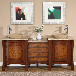 Silkroad Exclusive - 72 in. Vanessa Double Sink Bathroom Vanity in - Topmount Honey Onyx Stone Vessel Sinks included. Travertine Stone Top included. Cabinet Finish: Red Chestnut. Hardware Finish: Antique Brass. Materials: Wood, CARB Ph2 Certified Plywood & MDF Panels, Stone, Ceramic. Distressed Finish. Pre-drilled for Single Hole Faucet(s). Faucet(s) not included. Dimensions: 72 in. W x 22 in. D x 37.25 in. H (331 lbs.)This vanity would be perfect in any bathroom. Its unique yet exquisite design features the drop-in Travertine stone vessel sinks and delightful curves. The hidden drawers would surely provide you extra storage along with the graceful design. This piece would definitely be a wonderful companion for any bathroom.Disclaimer: Measurements are rounded off. Each of our fine bathroom vanities is a one-of-a-kind masterpiece, detailed with a multi-step hand finishing process. With individual technique and interpretation, no two pieces are exactly the same (color may vary). Individual personality of each stone top is further expressed by anomalies such as veining and coloration, as the nature of stone. Actual color may vary due to individual computer monitor display settings.