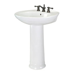 Pegasus - Aden 8 in. Centerset Pedestal Lavatory Sink - Manufacturer SKU: FL-2630-8W. Includes mounting hardware. Faucet not included. Distinctively contemporary line details. Rear overflow. ADA compliant. Made from high quality vitreous china. White color. Bowl depth: 9 in.. Overall: 24.8 in. W x 20.4 in. D x 33.4 in. H (79.2 lbs.)