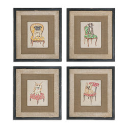 Uttermost - Pampered Pets Framed Art, Set of 4 - Other than your pet have you ever seen such pampered dogs? These oil reproductions are sure to delight all pet lovers as the images are raised for a three-dimensional look. Frames are heavily distressed for an aged effect.