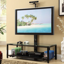 Coaster - 700876 TV Console, Black - This black metal and glass TV console features wire management, a TV mount, CD/DVD storage and 2 tempered glass shelves. A great addition for any modern home.