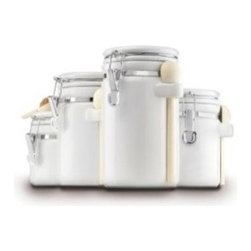 Anchor Hocking - White Ceramic 4-Piece Canister Set - Our 4-Piece Black Ceramic Canister set keeps your sugars, seasonings, coffees organized and secure in the stylish way. Perfect for your pantry but cute enough for your countertop.
