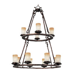 Maxim Lighting - Maxim Notre Dame Chandelier - 32W in. Oil Rubbed Bronze - 10977WSOI - Shop for Chandeliers from Hayneedle.com! Accent your home with the rustic yet elegant style of the Maxim Notre Dame Chandelier. A flawless blend of antique grace and modern sensibilities its large size and subtle drama make it ideal for spacious rooms. Twelve candle-style lights with Wilshire glass shades glow warmly in the two-tiered Old World-style metal frame which is finished in Oiled Bronze for a rich and aged effect. With its simple design and signature touch of romance this chandelier is sure to add character and life to any dining area foyer or great room.This fixture comes complete with 72 inches of hanging chain. It requires twelve 60-watt candelabra-base bulbs (not included) and measures 32W x 44H inches. It weighs 50 pounds and is UL CSA dry-area-listed for safety.About Maxim LightingSince 1970 Maxim Group Companies headquartered in California has been committed to providing a diverse selection of high-quality lighting fixtures for your home. Maxim products are made with attention to detail and with all the latest advances in lighting technology as well as forward-thinking design policies that fit effortlessly into your life. Maxim's goal is to lead the lighting industry through integrity innovation and client satisfaction.