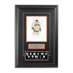 """Heritage Sports Art - Original art of the MLB 1904 San Francisco Giants uniform - This beautifully framed piece features an original piece of watercolor artwork glass-framed in an attractive two inch wide black resin frame with a double mat. The outer dimensions of the framed piece are approximately 17"""" wide x 24.5"""" high, although the exact size will vary according to the size of the original piece of art. At the core of the framed piece is the actual piece of original artwork as painted by the artist on textured 100% rag, water-marked watercolor paper. In many cases the original artwork has handwritten notes in pencil from the artist. Simply put, this is beautiful, one-of-a-kind artwork. The outer mat is a rich textured black acid-free mat with a decorative inset white v-groove, while the inner mat is a complimentary colored acid-free mat reflecting one of the team's primary colors. The image of this framed piece shows the mat color that we use (Orange). Beneath the artwork is a silver plate with black text describing the original artwork. The text for this piece will read: This original, one-of-a-kind watercolor painting of the 1904 New York Giants (now San Francisco Giants) uniform is the original artwork that was used in the creation of this San Francisco Giants uniform evolution print and tens of thousands of other San Francisco Giants products that have been sold across North America. This original piece of art was painted by artist Nola McConnan for Maple Leaf Productions Ltd. Beneath the silver plate is a 3"""" x 9"""" reproduction of a well known, best-selling print that celebrates the history of the team. The print beautifully illustrates the chronological evolution of the team's uniform and shows you how the original art was used in the creation of this print. If you look closely, you will see that the print features the actual artwork being offered for sale. The piece is framed with an extremely high quality framing glass. We have used this glass style for man"""