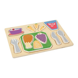 "Guidecraft - Guidecraft Sorting Food Trays: Dinner - Guidecraft - Kitchen Play Sets - G462 - The Dinner Sorting Food Tray displays a well-balanced meal and colorful tray setting in a fun puzzle-like configuration. Chunky raised pieces are easy to grasp and stand on their own for dramatic play. Helps develop shape and fine motor skills and encourages imaginative play. Tray size: 11"" x 14"". Ages 2+."