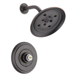Delta - Delta T14297-RBLHP Cassidy MultiChoice 14 Series Shower Trim (Venetian Bronze) - Delta T14297-RBLHP Cassidy MultiChoice 14 Series Shower Trim (Less Handle)(Venetian Bronze). The Delta T14297-RBLHP is part of the Cassidy Series. This shower trim features a Monitor 14  Series pressure balanced mixing valve with Scald-Guard, a field adjustable hot water zone limit, and a solid brass fabricated body. It comes with Delta's exclusive H2OKinetic technology showerhead (2 GPM flow rate), and a dramatic, Venetian Bronze finish. This valve trim requires a Multi-Choice rough valve body and a handle (both sold separately).