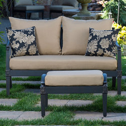 Astoria Collection - Classic comfort meets contemporary design in this love seat and ottoman combo, built with a completely new frame and charcoal finish. Beyond making a statement, it comes with all-weather durability and just the right amount of customization to handle anything Mother Nature or the demands of your patio can throw its way. For the finest in luxury patio furniture, the Astoria Collection is the perfect addition to your outdoor space.
