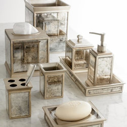 Kassatex - Kassatex Palazzo Bathroom Accessories Collection - APL-LD - Shop for Linen Collections and Sets from Hayneedle.com! Add a classic touch to your bathroom decor with the Kassatex Palazzo Bathroom Accessories Collection. Choose between the cotton jar lotion dispenser soap dish tumbler toothbrush holder tissue holder tray and waste bin. Each piece is made of with durable resin and given a beige finish with a vintage mirror design. Accessory Dimensions: Cotton jar: 5.59H in. Lotion dispenser: 7.80H in. Soap dish: 6.02W in. Tumbler: 4.06H in. Toothbrush holder: 3.98H in. Tissue holder: 6.02H in. Tray: 2.99W in. Waste bin: 8.70H in. About KassatexKassatex uses its truly global nature - it has operations in the US Portugal Turkey China India South America and more - to provide a high-quality product using only the best materials. In the US since 1999 Kassatex brings a wide range of bed and bath fabrics that are reliably as comfortable as they are surprisingly affordable.