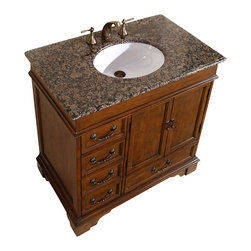 """Silkroad Exclusive - 36 Inch Traditional Single Sink Bathroom Vanity - This single sink bathroom vanity features two recessed panel doors, five workable drawers and a beautiful Baltic Brown Granite counter top.  This single bathroom vanity is a perfect fit for those small spaces.  Dimensions: 36""""W X 22""""D X 36""""H (Tolerance: +/- 1/2""""); Counter Top: Baltic Brown Granite; Finish: Dark Brown; Features: 2 Doors, 5 Drawers; Hardware: Antique Brass; Sink(s): 16"""" Under Mount White Ceramic Sink; Faucet: Pre-Drilled for Standard Three Hole 8"""" Center (Not Included); Assembly: Fully Assembled; Large cut out in back for plumbing; Included: Cabinet, Sink; Not Included: Faucet, Backsplash."""