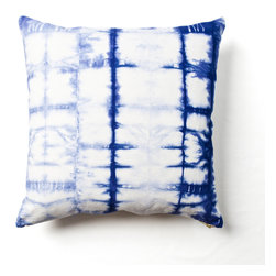 Grid Shibori Pillow - I love the whimsical feel of this batik patterned throw pillow in shades of blue and white.