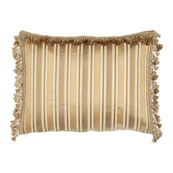 Austin Horn Collection - King Striped Sham with Tassel Fringe on Three Sides - LIGHT BEIGE (KING) - Austin Horn CollectionKing Striped Sham with Tassel Fringe on Three Sides