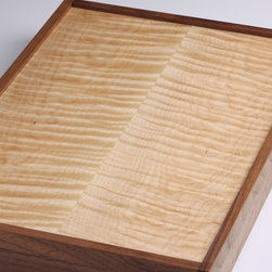 Pontillo Furniture Concepts - Watch Box - Made from black walnut and tiger maple.  Black velvet lining and brass hinges.  Finished with hand rubbed polyurethane.