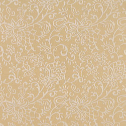 Gold, Contemporary Floral Designed Woven Upholstery Fabric By The Yard - This material is an upholstery grade jacquard fabric. It is lightweight, but is rated heavy duty and upholstery grade.