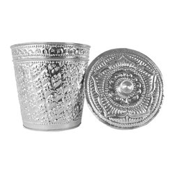 Brilliant Imports : The Bali Collection ~ Baskets & Boxes - {NEW} ALUMINUM BASKET WITH LID