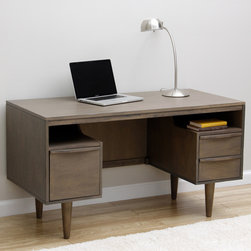 None - Sterling Antique Charcoal Desk - The Sterling desk offers an antique charcoal finish and gives you enough space to do any work you need, whether it's a home business or just the family computer desk. The Modern mid-century design gives beauty and sophistication to any office area.
